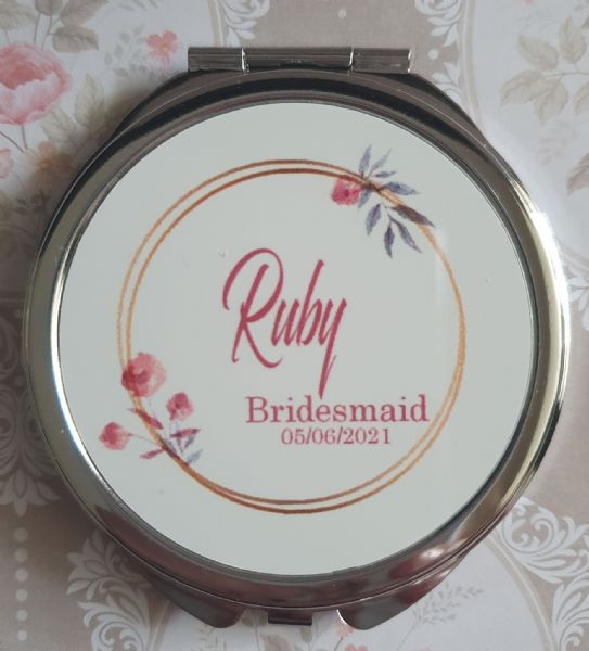 Personalised Wedding Compact Mirror - Design 5